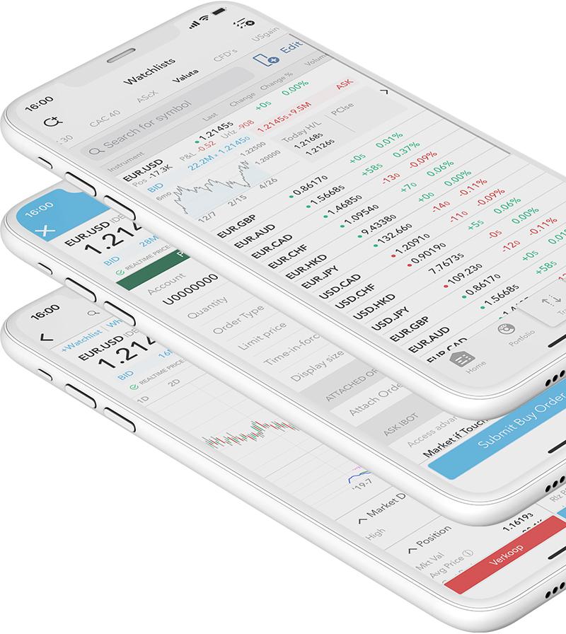 Urządzenie mobilne z wykresem cenowym i wskaźnikiem MACD na parze walutowej EUR.USD