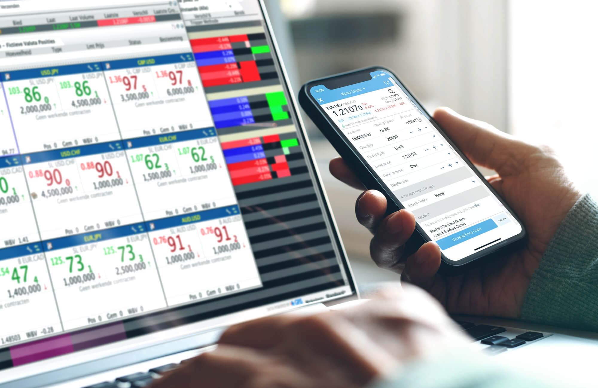 Inwestor i klient LYNX handlujący forex na aplikacji mobilnej i platformie przeznaczonej na komputery pc