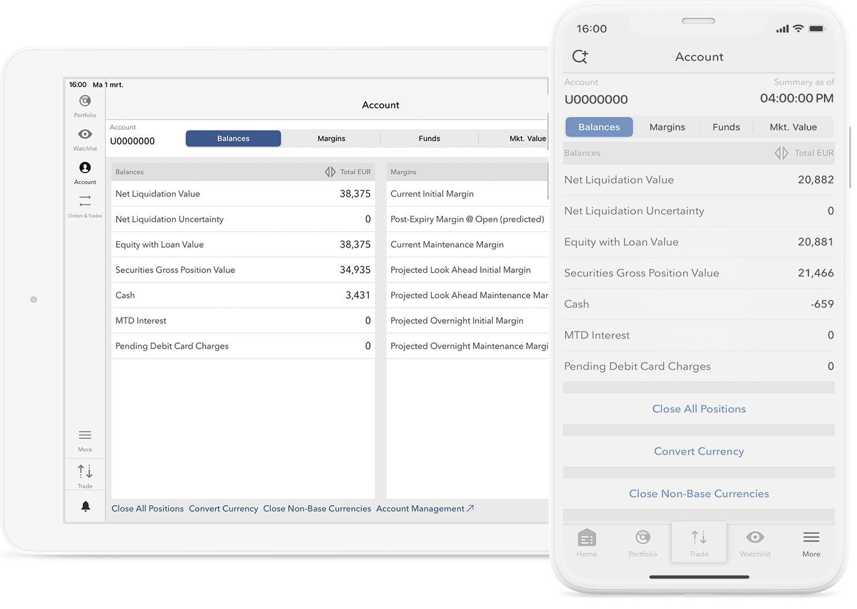 Urządzenie mobilne z aplikacją mobilną i informacjami o rachunku inwestycyjnym