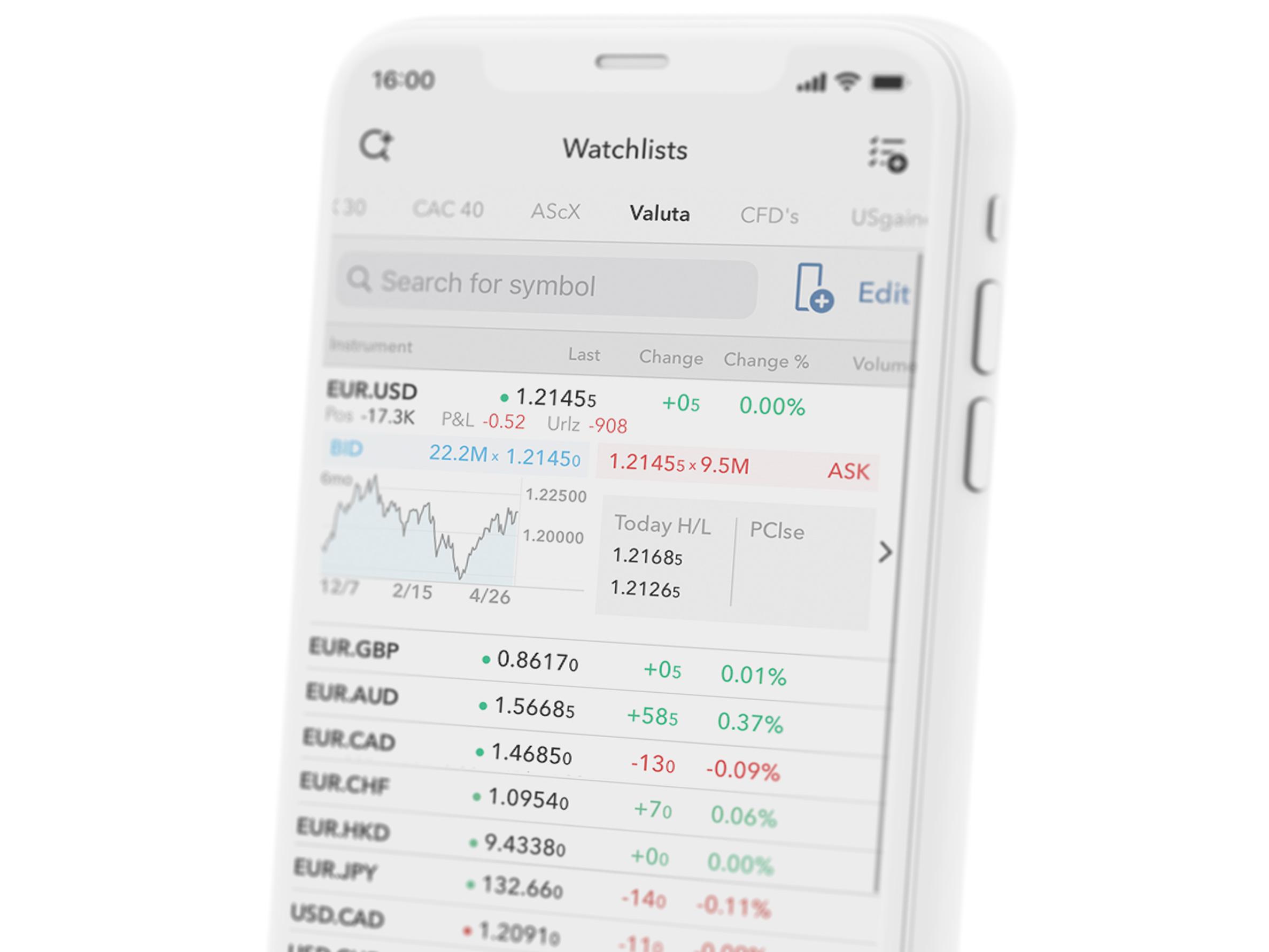 Urządzenie mobilne z otwartą aplikacją biznesową z parami walutowymi