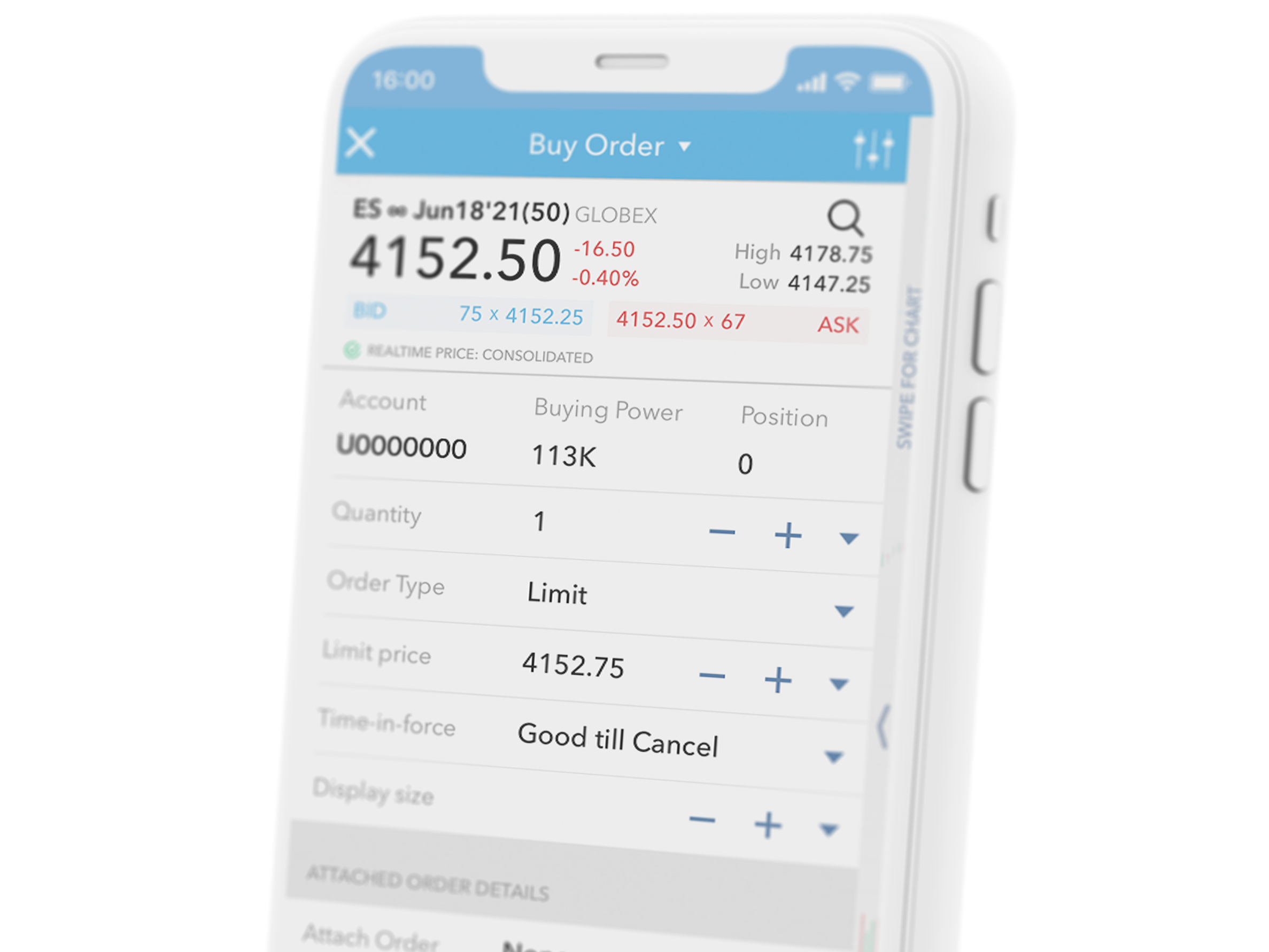 Telefon komórkowy z aplikacją handlową LYNX Trading, na której można również handlować kontraktami futures