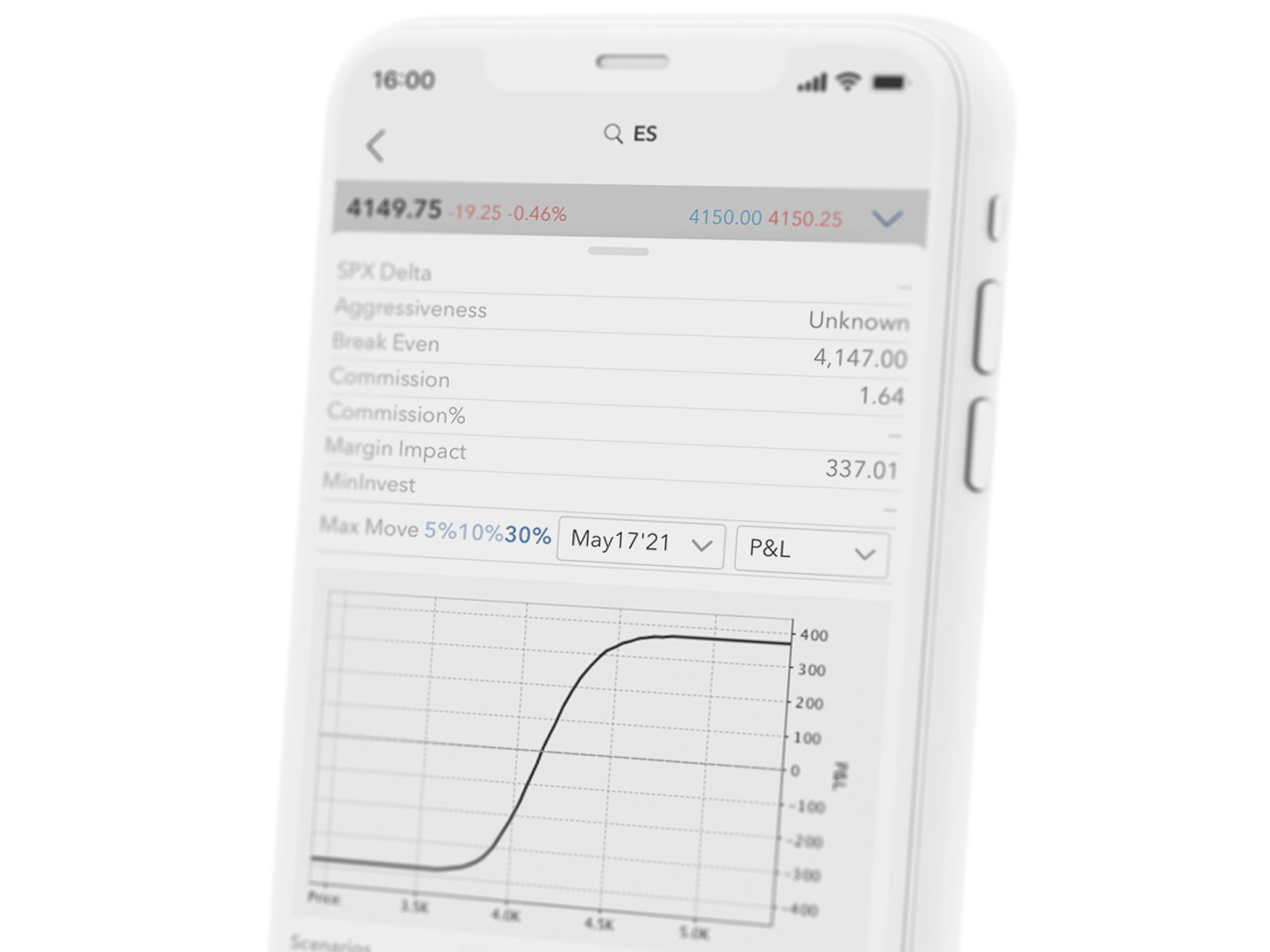 Smartfon z aplikacją handlową LYNX Trading, która pozwala handlować opcjami