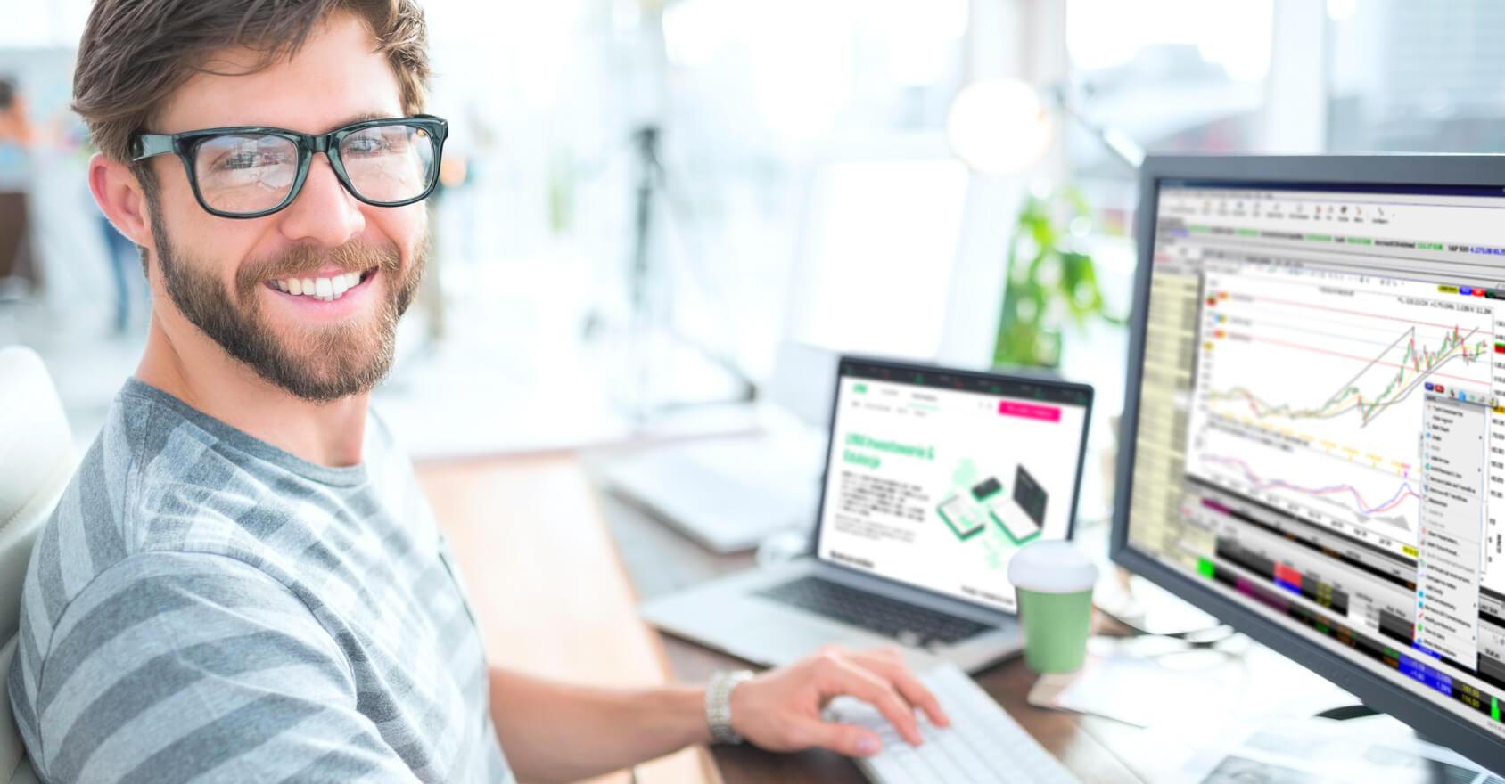 Skuteczny trader i klient LYNX handlujący za pośrednictwem platformy Trader Workstation (TWS)