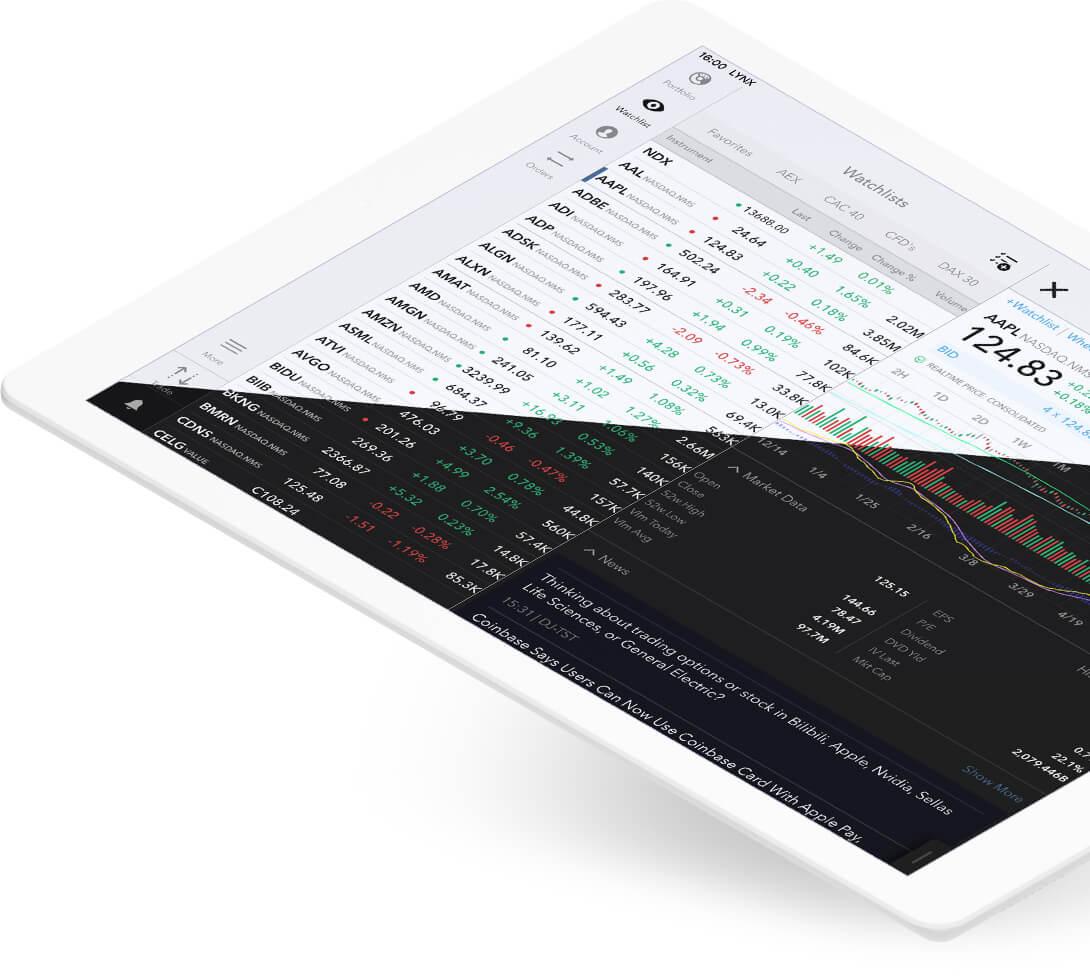 iPad z otwartą platformą handlową LYNX Trading na szczegółach akcji Apple