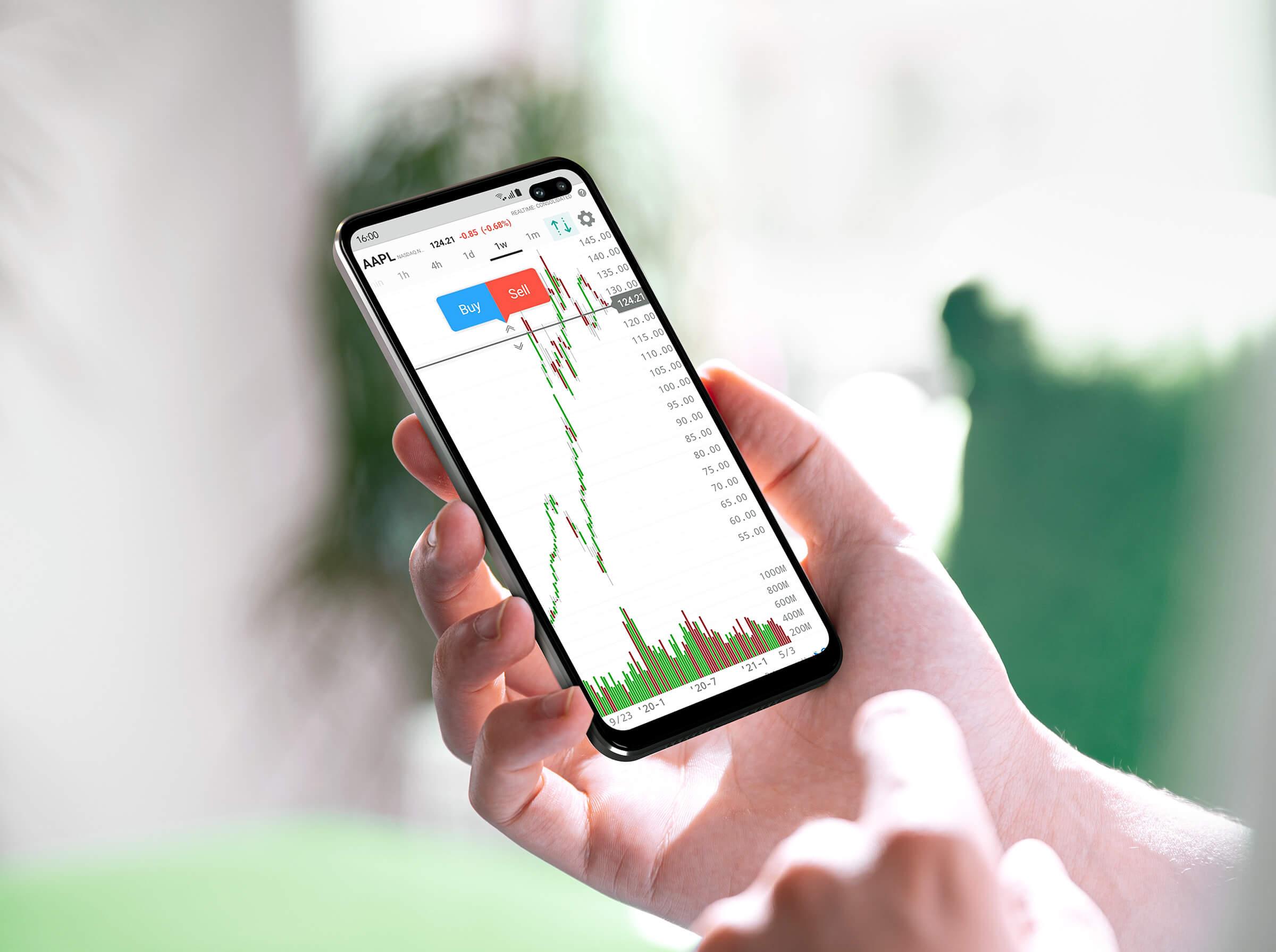 Urządzenie mobilne z systemem operacyjnym Android i aplikacją mobilnąz wykresem cen akcji
