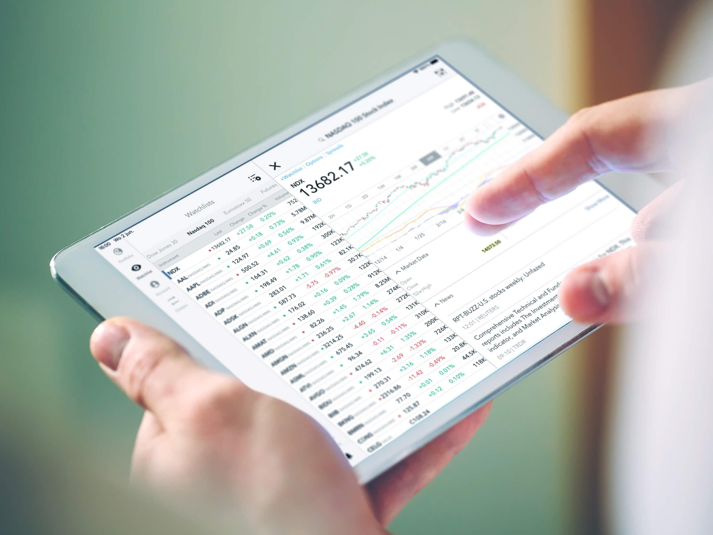 Platforma handlowa LYNX Trading z wykresem cen akcji na urządzeniach iPad