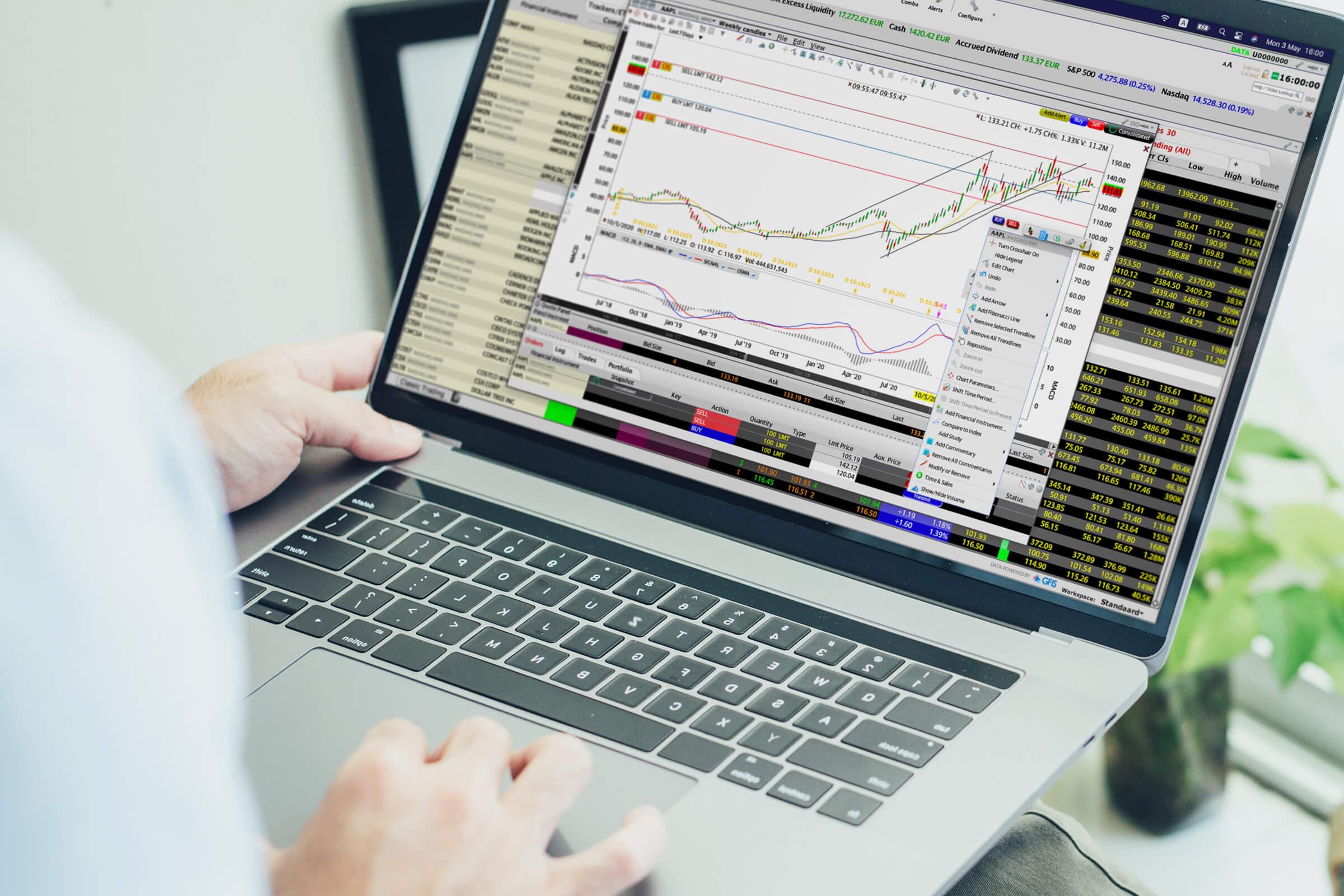 Inwestor i klient LYNX handlujący na platformie Trader Workstation (TWS)